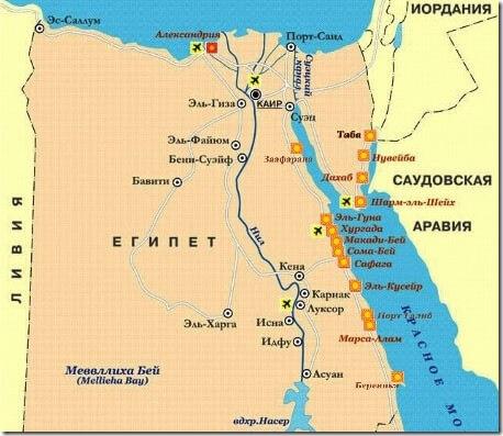 Карта Египта с перечнем курортов